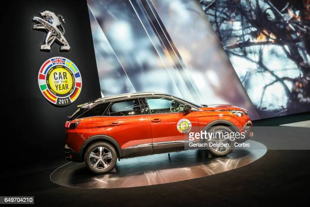 The Peugeot 3008 Car of the year 2017 on display during the second press day of the Geneva Motor Show 2017 at the Geneva Palexpo on March 8 2017 in...