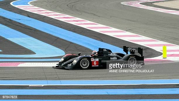 The Peugeot 908 HDI n6 of the OrecaMatmut team driven by French pilots Olivier Panis Nicolas Lapierre and Simon Pagenaud is seen during the official...