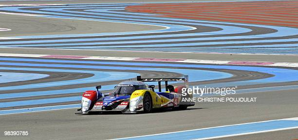 The Peugeot 908 HDI n6 of the OrecaMatmut team driven by French Olivier Panis Nicolas Lapierre and Loic Duval competes during the Le Mans Series...