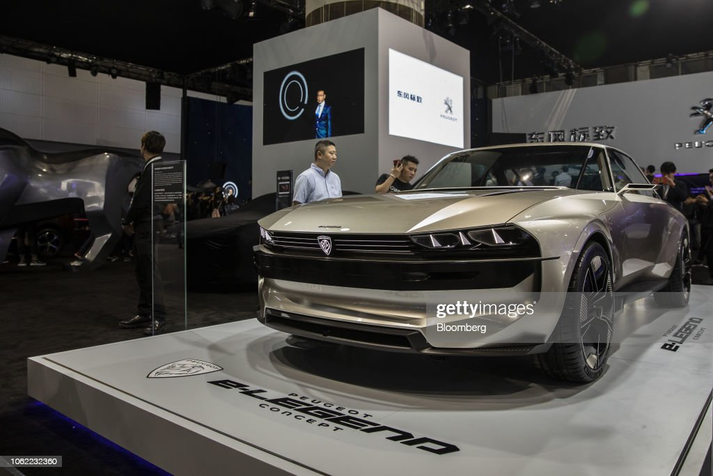The Peugeot Sa E Legend Concept Vehicle Is Displayed At The