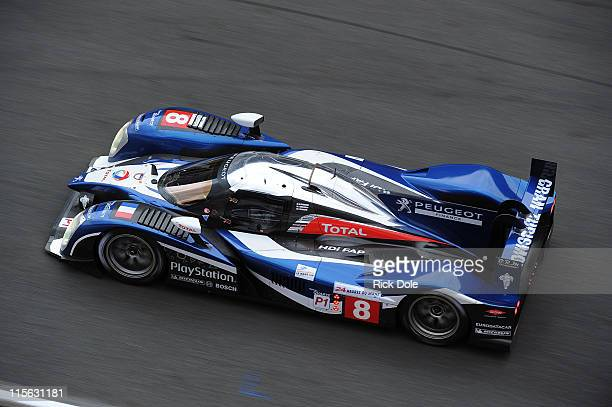 The Peugeot Sport Total Peugeot 908 driven by Stephane Sarrazin, Franck Montagny, and Nicolas Minassian, all of France, during practice for the 79th...