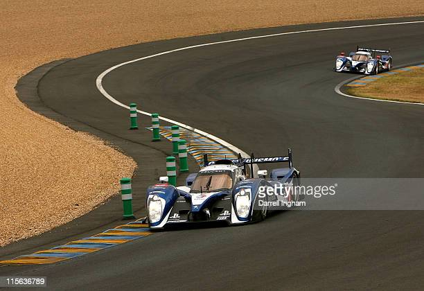 The Peugeot Sport Total Peugeot 908 driven by Stephane Sarrazin, Nicolas Minassian and Frank Montagny of France during practice for the 79th running...