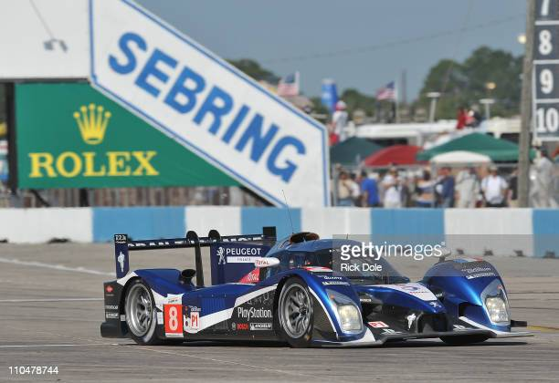 The Peugeot Sport Total Peugeot 908 driven by Stephane Sarrazin of France, Franck Montagny of France, and Pedro Lamy of Portugal, during the...