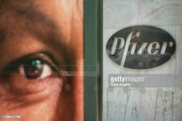 The Pfizer world headquarters stands in Midtown Manhattan on July 29, 2019 in New York City. On Monday morning, Pfizer announced the merger of its...