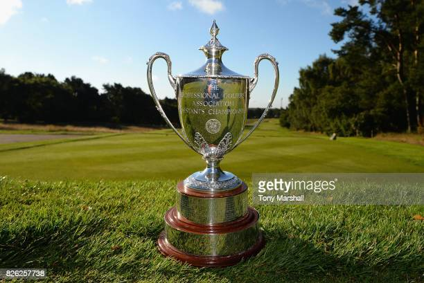 The PGA Assistants' Championship Trophy sits on the 1st tee during Day Three of the Galvin Green PGA Assistants' Championship at Coxmoor Golf Club on...