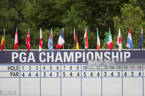 The PGA Championship leaderboard is seen during a practice round prior to the 2017 PGA Championship at Quail Hollow Club on August 9 2017 in...