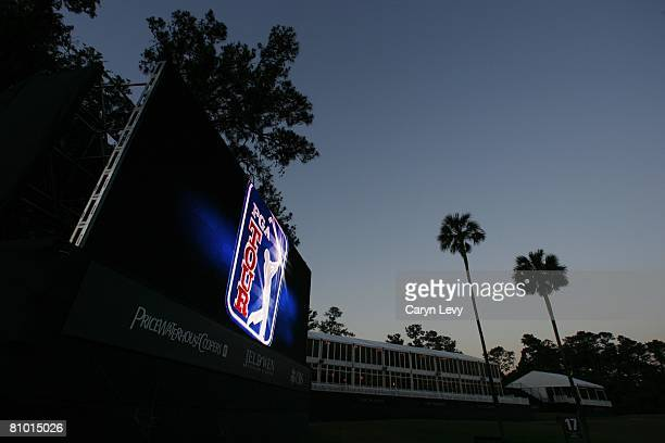 The PGA TOUR logo on video board at dawn during the second day of practice for THE PLAYERS Championship on THE PLAYERS Stadium Course at TPC Sawgrass...
