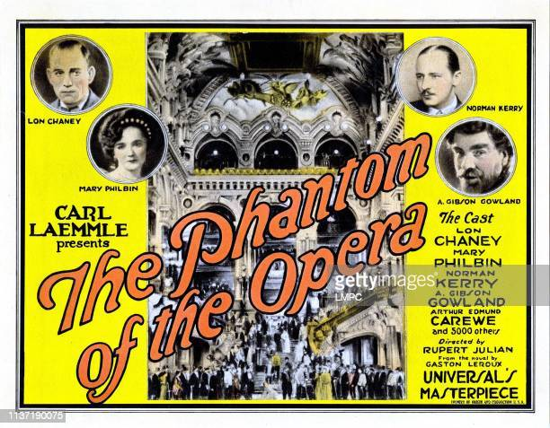 The Phantom Of The Opera, lobbycard, Poster Art, from left: Lon Chaney, Mary Philbin, Norman Kerry, A. Gibson Gowland, 1925.