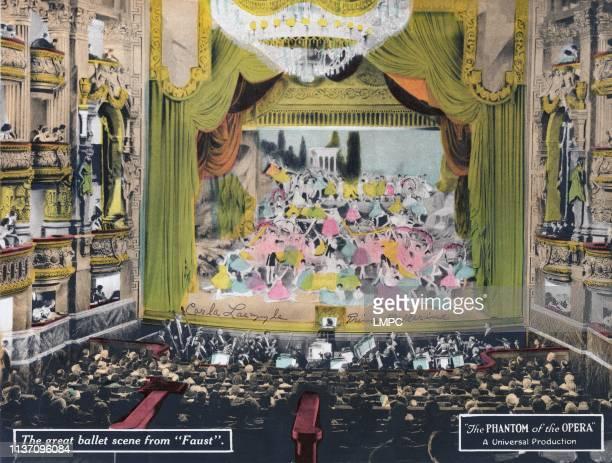 The Phantom Of The Opera, poster, center dancer in pink dress: Carla Laemmle as the 'Prima Ballerina', 1925.