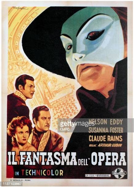 The Phantom Of The Opera, poster, , Susanna Foster, Nelson Eddy, Claude Rains, 1943.