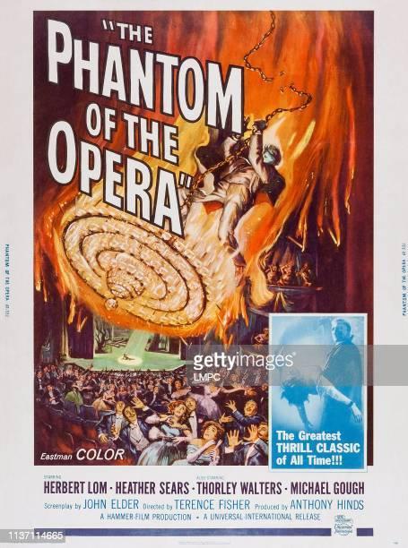 The Phantom Of The Opera, poster, top and bottom right: Herbert Lom, bottom left: Heather Sears on poster art, 1962.