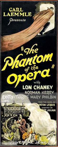The Phantom Of The Opera, poster, top: Lon Chaney; standing, from left, bottom: Mary Philbin, Norman Kerry, 1925.