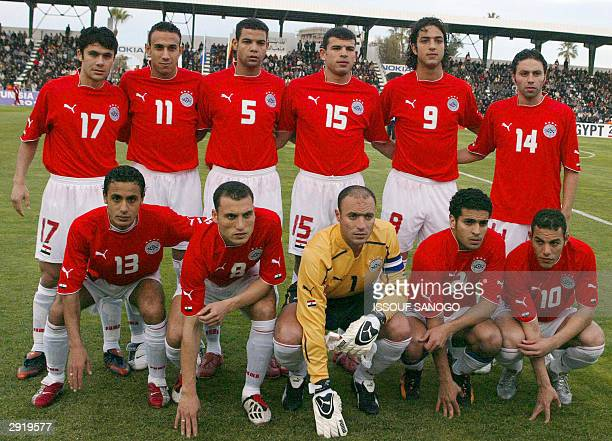 The Pharaohs of Egypt members of Egypt's national soccer team pose 25 January 2004 at the stadium in Sfax prior their African Nations Cup match...