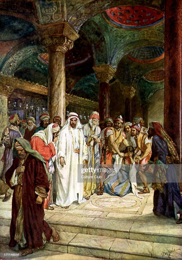 The Pharisees bring an adulteress to Jesus and proceed to challenge Jesus over the law of Moses, which demands she be stoned to death. 'He that is without sin among you, let him first cast a stone at her' John viii 3-11. Illustration by William Hole 1846-1917.