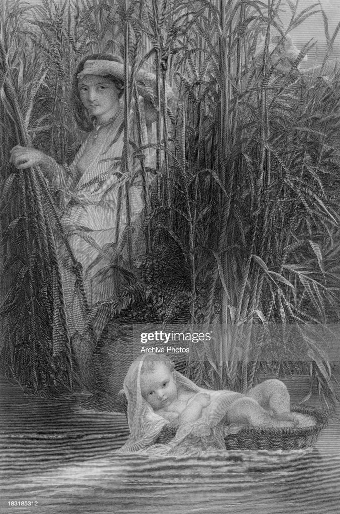 The Pharoah's daughter finds baby Moses in his basket among the bulrushes on the River Nile, in the biblical story. Engraving by the Illman Brothers after a painting by Paul Delaroche.