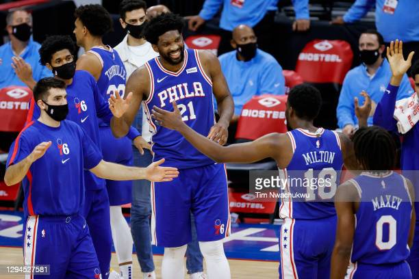 The Philadelphia 76ers celebrate a play during the fourth quarter against the Charlotte Hornets at Wells Fargo Center on January 04, 2021 in...