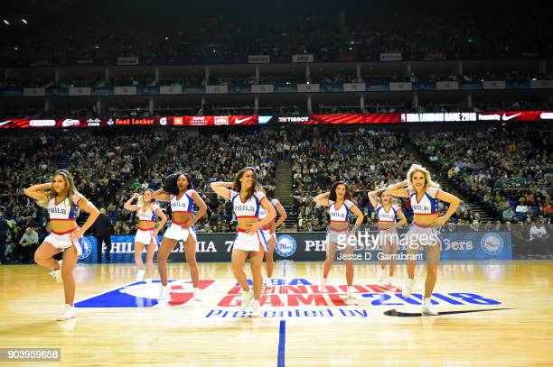 the Philadelphia 76ers cheerleaders before during the game against the Boston Celtics on January 11 2018 at The O2 Arena in London England as part of...