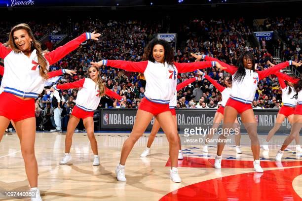 The Philadelphia 76ers cheerleaders peform during the game between the Philadelphia 76ers and the Los Angeles Lakers on February 10 2019 at the Wells...