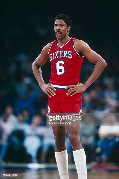 The Philadelphia 76ers' forward Julius Erving stands on the court during a game. NOTE TO USER: User expressly acknowledges and agrees that, by...