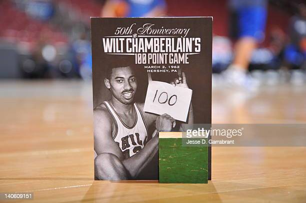 The Philadelphia 76ers give away 2'x2' pieces of the original court that Wilt Chamberlain scored 100 points on to all ticket holders of tonights game...