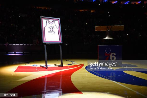 The Philadelphia 76ers honor Kobe Bryant by displaying his Lower Merion during the game against the Golden State Warriors on January 28 2020 at the...