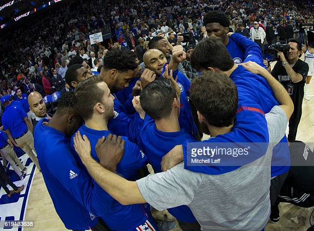 The Philadelphia 76ers huddle prior to the game against the Oklahoma City Thunder at Wells Fargo Center on October 26 2016 in Philadelphia...
