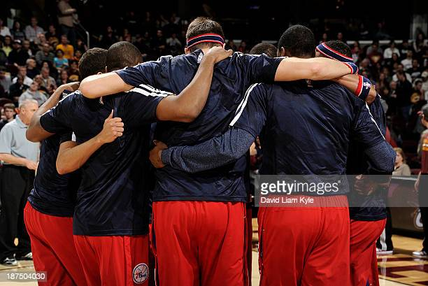 The Philadelphia 76ers huddle together prior to the game against the Cleveland Cavaliers at The Quicken Loans Arena on November 9 2013 in Cleveland...