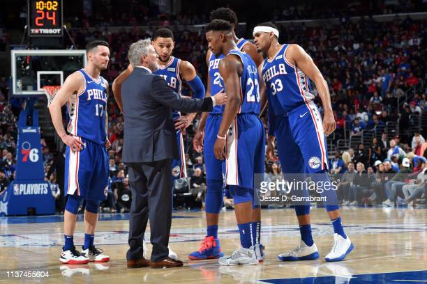 The Philadelphia 76ers huddle up during a game against the Brooklyn Nets during Game Two of Round One of the 2019 NBA Playoffs on April 15 2019 at...