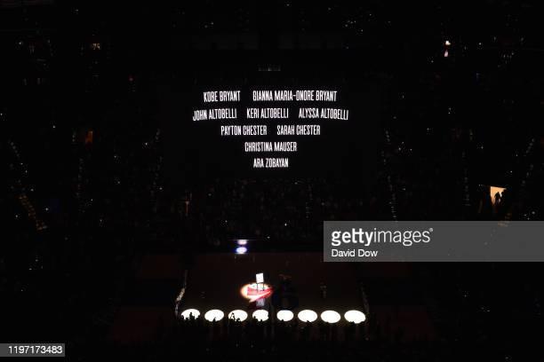 The Philadelphia 76ers pay tribute to the Kobe Bryant Gianna Bryant John Altobelli Keri Altobelli Alyssa Altobelli Payton Chester Sarah Chester...