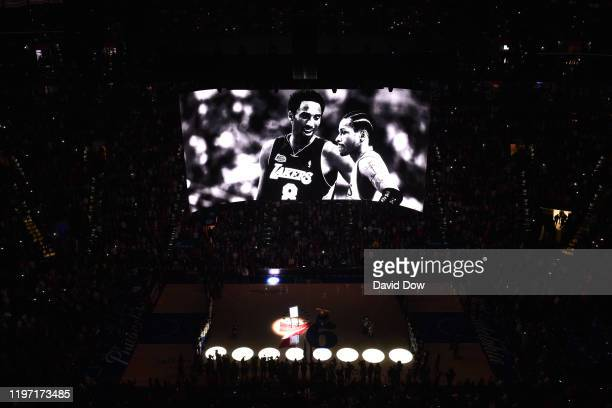 The Philadelphia 76ers pay tribute to the Kobe Bryant prior to a game between the Golden State Warriors and the Philadelphia 76ers on January 28,...