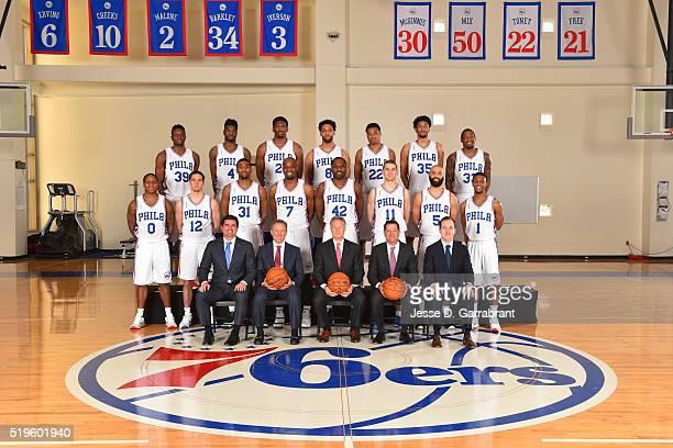 The Philadelphia 76ers pose for a team photo at Wells Fargo Center on April 5 2016 in Philadelphia Pennsylvania NOTE TO USER User expressly...