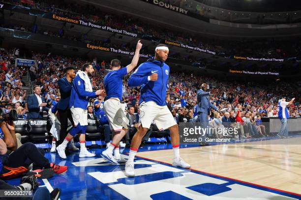 the Philadelphia 76ers react Boston Celtics during Game Three of the Eastern Conference Semi Finals of the 2018 NBA Playoffs on May 5 2018 in...