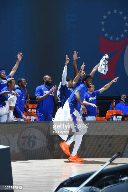 The Philadelphia 76ers react during a scrimmage against the Memphis Grizzlies on July 24 2020 at The Arena at ESPN Wide World of Sports in Orlando...