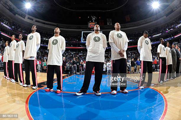 The Philadelphia 76ers wear their Go Green tshirts before the game against the Milwaukee Bucks on April 2 2009 at the Wachovia Center in Philadelphia...