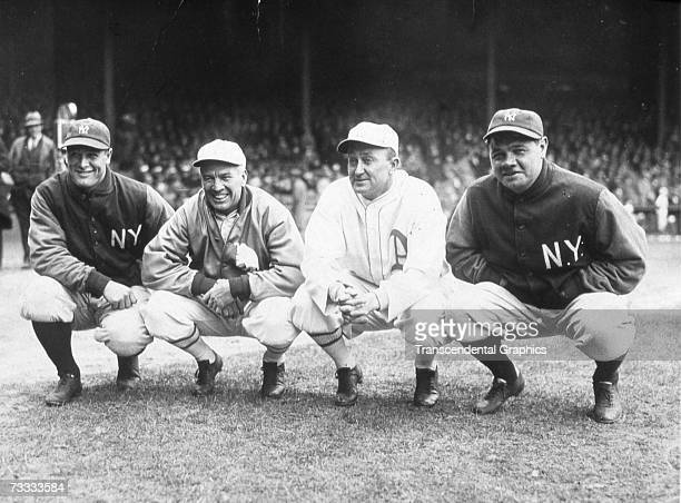 The Philadelphia Athletics are in New York for a series with the Yankees during the 1927 and this group photo shows Lou Gehrig Tris Speaker Ty Cobb...