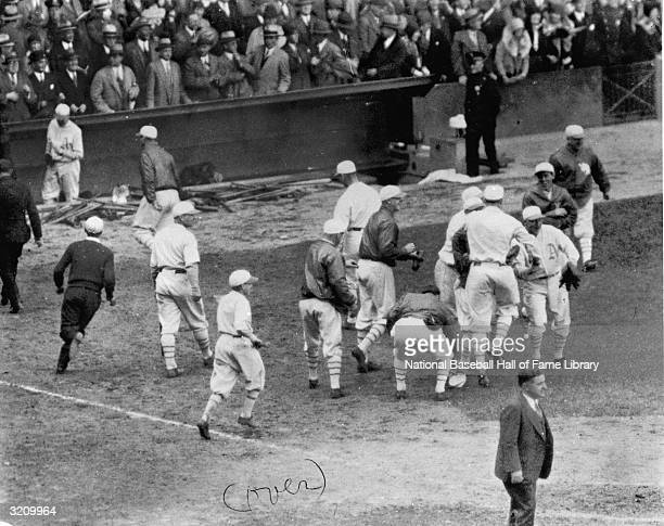 The Philadelphia Athletics celebrate after a 1929 World Series game against the Chicago Cubs The A's won the series 41