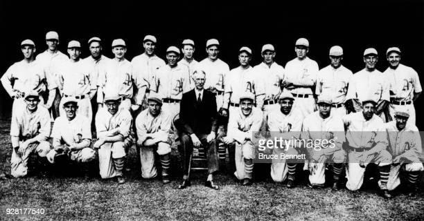 The Philadelphia Athletics pose for the team photo Eric McNair Lefty Grove Max Bishop Mule Haas Joe Boley Rube Walberg Wally Schang Cy Perkins Jimmy...