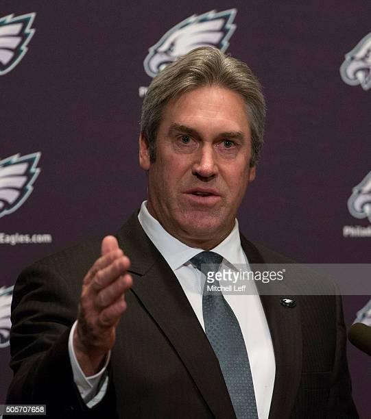 The Philadelphia Eagles announce their new head coach Doug Pederson on January 19 2016 at the NovaCare Complex in Philadelphia Pennsylvania