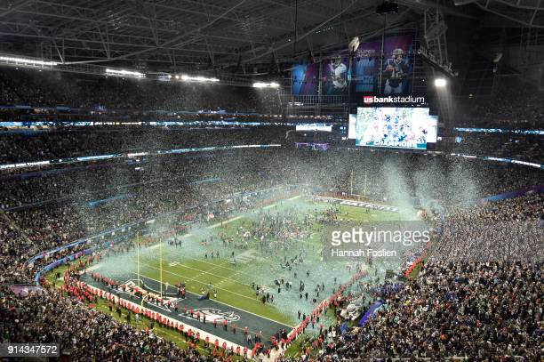 The Philadelphia Eagles celebrate after defeating the New England Patriots 41-33 in Super Bowl LII at U.S. Bank Stadium on February 4, 2018 in...