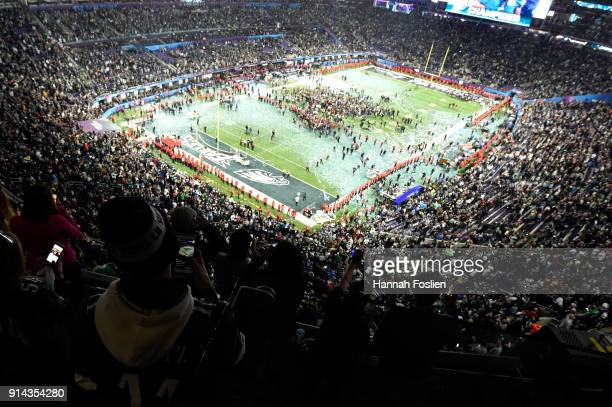 The Philadelphia Eagles celebrate after defeating the New England Patriots 4133 in Super Bowl LII at US Bank Stadium on February 4 2018 in...