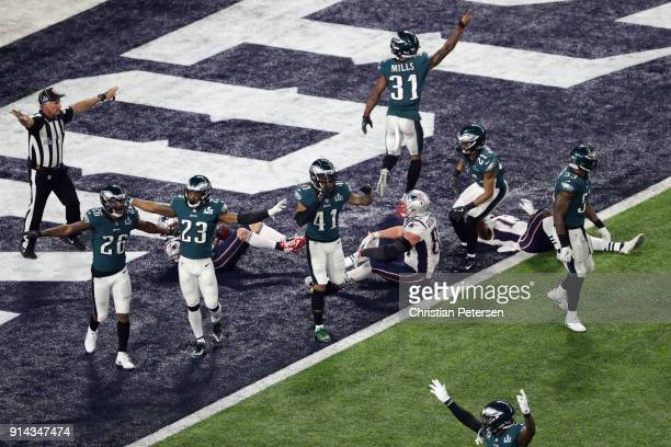 The Philadelphia Eagles celebrate after intercepting an incomplete pass for Rob Gronkowski of the New England Patriots to win Super Bowl LII 4133 at...