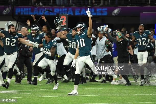 The Philadelphia Eagles celebrated defeating the New England Patriots 41-33 in Super Bowl LII at U.S. Bank Stadium on February 4, 2018 in...