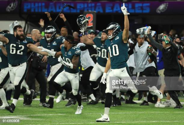 The Philadelphia Eagles celebrated defeating the New England Patriots 4133 in Super Bowl LII at US Bank Stadium on February 4 2018 in Minneapolis...