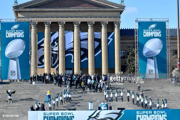 The Philadelphia Eagles championship team walks down the Art Museum Steps as hundreds of thousands fill the Parkway in Philadelphia PA on February 8...