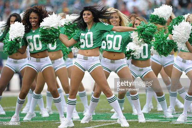 The Philadelphia Eagles cheerleaders dance before the NFL season opener game against the Green Bay Packers on September 12 2010 at Lincoln Financial...