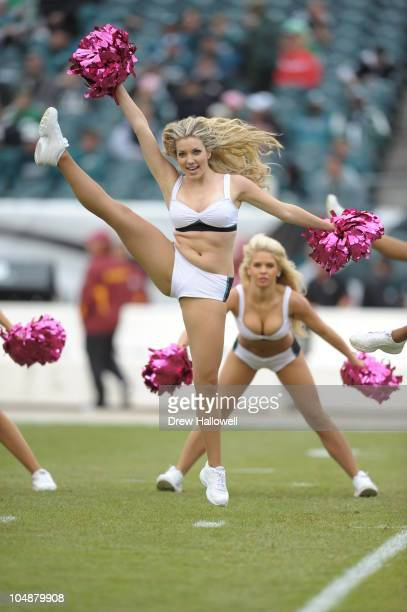 The Philadelphia Eagles cheerleaders dance during the game against the Washington Redskins at Lincoln Financial Field on October 3 2010 in...