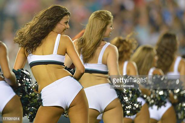 The Philadelphia Eagles cheerleaders dance during the game against the New England Patriots at Lincoln Financial Field on August 9 2013 in...