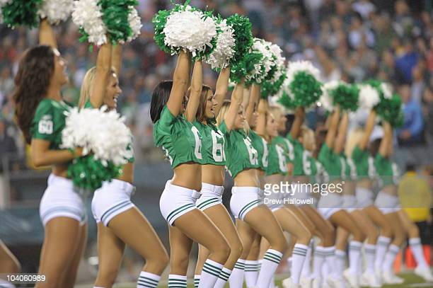 The Philadelphia Eagles cheerleaders dance during the NFL season opener game against the Green Bay Packers on September 12 2010 at Lincoln Financial...