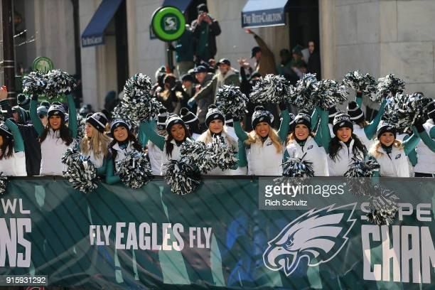 The Philadelphia Eagles cheerleaders during the team's Super Bowl Victory Parade on February 8 2018 in Philadelphia Pennsylvania