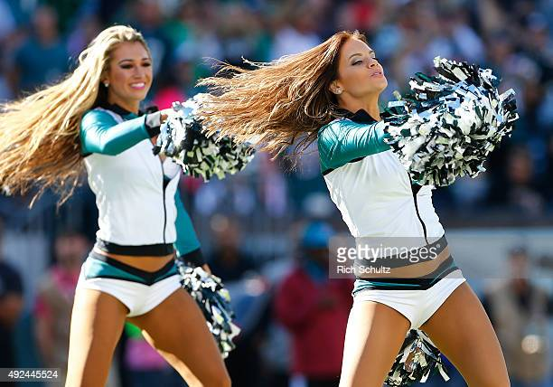 The Philadelphia Eagles cheerleaders perform during a game against the New Orleans Saints at Lincoln Financial Field on October 11 2015 in...